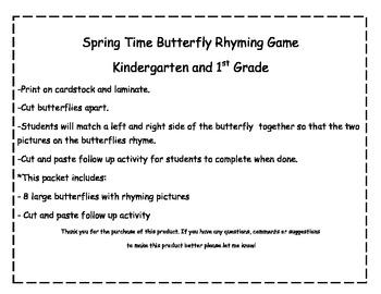 Spring Rhyme Activity