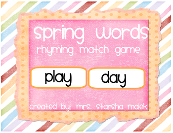 Spring Rhyming Match (S.Malek Freebie)