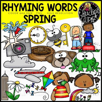 Spring Rhyming Words Clip Art Set {Educlips Clipart}
