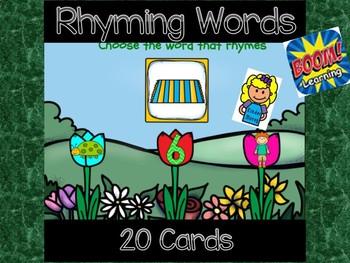 Spring Rhyming Words: Digital Task Cards  ** Boom Cards **