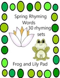Spring Rhyming Words: Frog and Lily Pad