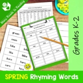 Spring Rhyming Words Grades K-2