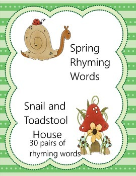 Spring Rhyming Words: Snail and Toadstool