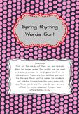 Spring Rhyming Words Sort