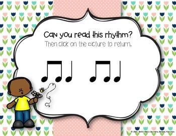 Spring Rhythm Reading Interactive Game - Ta, ti-ti (Kodaly Review Game)