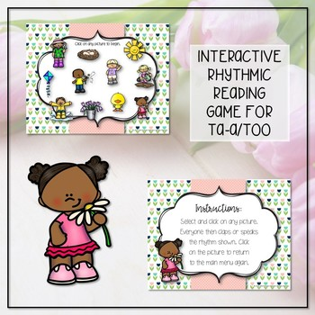 Spring Rhythm Reading Interactive Game - Ta-a/Half Note (Kodaly Review Game)