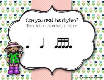 Spring Rhythm Reading Interactive Game - Tika-tika/16th (Kodaly Review Game)