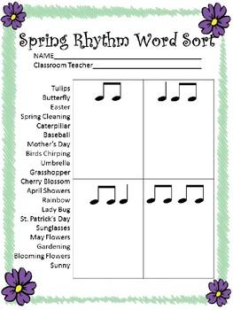 Spring Rhythm Word Sort
