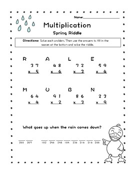 Spring Riddle Multiplication Worksheet