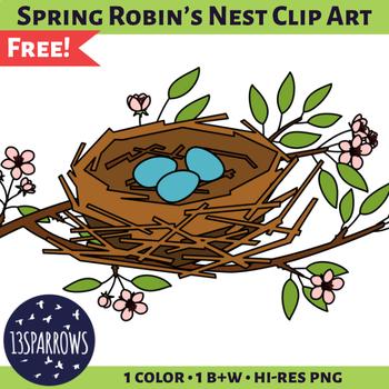 Spring Robin's Nest Clip Art