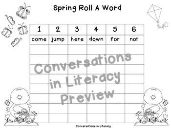 Spring Roll A Word Freebie