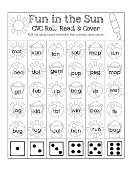 Summer CVC Roll, Read, and Cover Pack