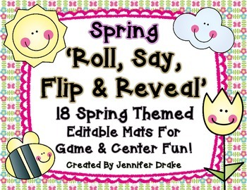 Spring 'Roll, Say, Flip & Reveal' EDITABLE Game & Center!