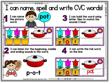 Spring-SHORT O Literacy Center- Spring into Learning-Read, Build & Write CVC