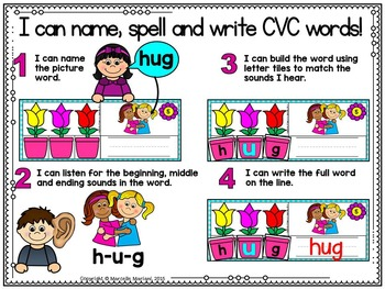 Spring-SHORT U Literacy Center- Spring into Learning-Read, Build & Write CVC