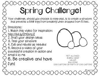 Spring STEM Challenge Egg drop challenge