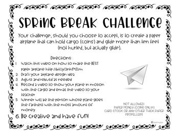 Spring STEM Challenge Paper Airplane Challenge