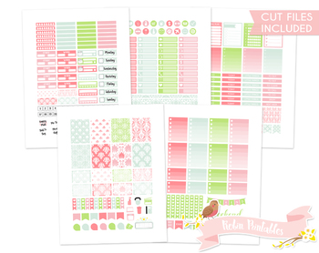 Spring Damask Printable Weekly Planner kit Stickers fits Erin Condren