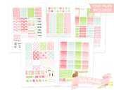 Spring Damask Printable Weekly Planner kit Stickers fits E