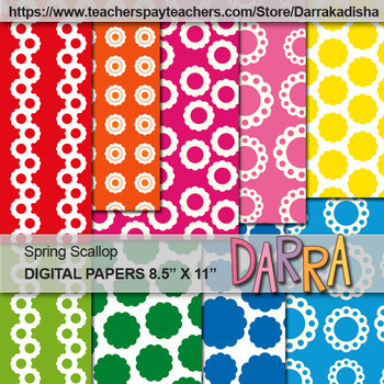 Spring Scallop Digital Papers - background for cover page
