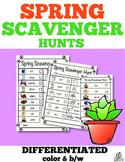 Spring Literacy Center Spring Scavenger Hunt (Differentiated)