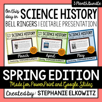 Spring Science History Bell Ringers (Paperless & Editable)
