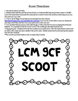 Spring Scoot Game ~ LCM/GCF and Prime Factorization