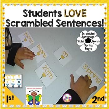Scrambled Sentences ~Spring~ Color & Number Sight Word Practice {2nd-3rd Grades}