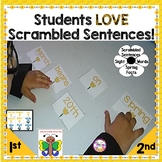 Sight Word Practice Color and Number Words Spring Scrambled Sentences