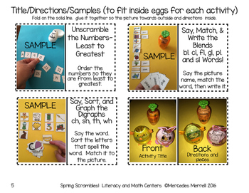 Spring Scrambles!  Literacy and Math Centers