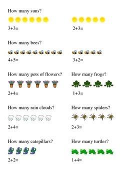 Spring Season Addition How Many Kindergarten Math