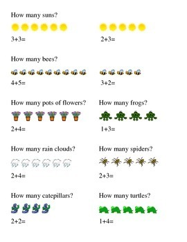 Spring Season Addition How Many Kindergarten Math