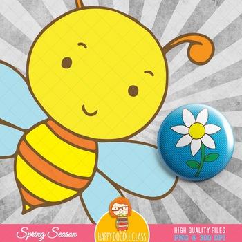 Spring Season, Flower, Birds and Bugs Clip Art Bundle. 31 pieces.