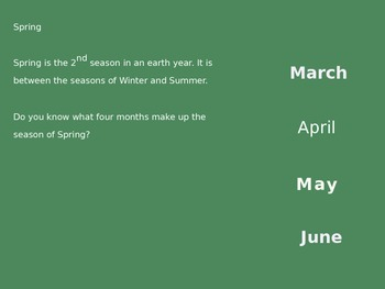 Spring Season Power Point - Facts Activities Nature Holidays 10 Slides