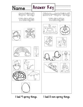 Spring Season Sorting Activity with Two Follow Up Worksheets