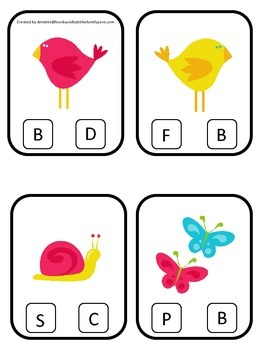 Spring Season themed Beginning Sounds Clip it Cards preschool learning game.