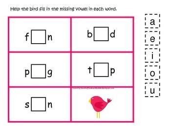 Spring Season themed CVC #1 preschool homeschool vowel activity.  Phonics.