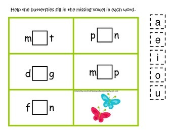 Spring Season themed CVC #2 preschool homeschool vowel activity.  Phonics.
