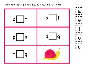 Spring Season themed CVC #3 preschool homeschool vowel activity.  Phonics.