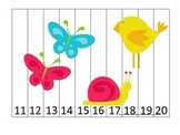 Spring Season themed Number Sequence Puzzle 11-20 preschool learning activity.