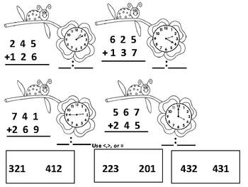 Spring Second Grade Math Review Skills