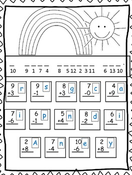 Spring Secret Math Codes Addition and Subtraction