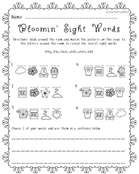 Spring Secret Sight Word ~Write the Room~