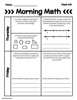 Spring Semester 3rd Grade Morning Math