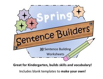 Spring Sentence Builders - Kindergarten