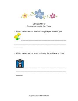Spring Sentence Formulation with Irregular Past Tense