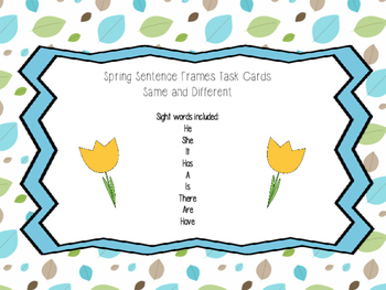 Spring Sentence Frames- Same and Different