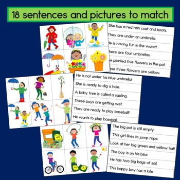 Spring Sentence Picture Match Reading Center