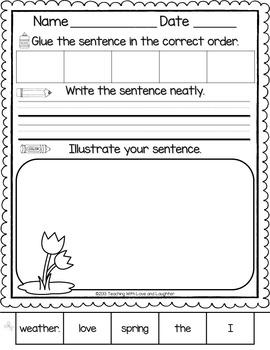 Spring Sentence Puzzle Freebie
