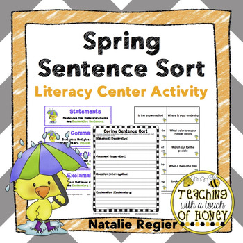Spring Activities | Writing Center Activity | Literacy Centers | Sentence Sort